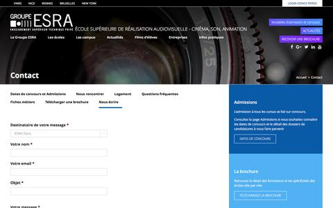 Screenshot of Contact Page esra.edu - Contact - Groupe ESRA - captured May 13, 2017