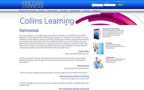 Screenshot of Testimonials Page collinslearning.com - Collins Learning - Educate. Inspire. Transform. - captured Dec. 10, 2015