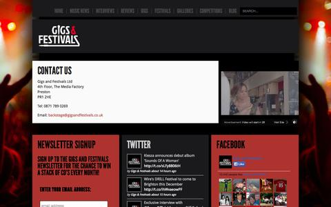 Screenshot of Contact Page gigsandfestivals.co.uk - Contact Us - captured Sept. 19, 2014