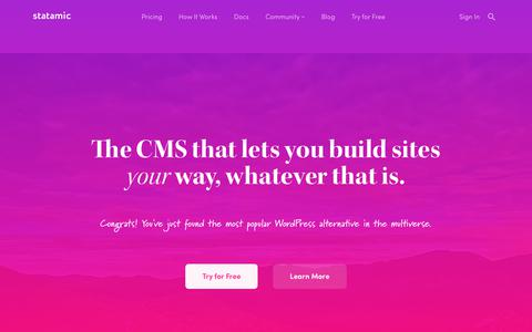 Screenshot of Home Page statamic.com - Statamic - The CMS that lets you build sites your way. - captured Oct. 21, 2017
