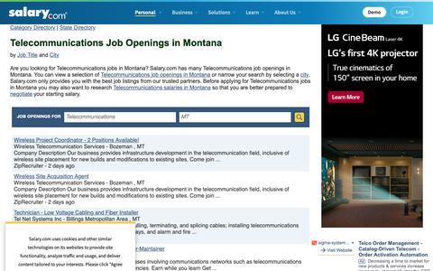 Screenshot of Jobs Page salary.com - Telecommunications Job Openings in Montana | Salary.com - captured Oct. 26, 2018