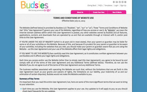 Screenshot of Terms Page budsies.com - Terms of Service - captured Sept. 23, 2014