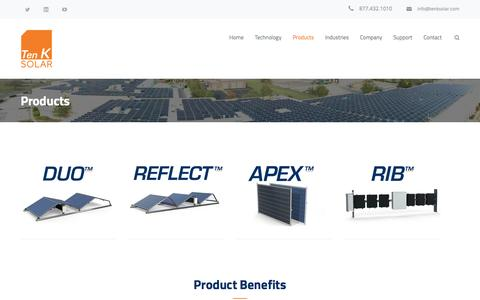 Screenshot of Products Page tenksolar.com - Products – Ten K Solar - captured July 3, 2016