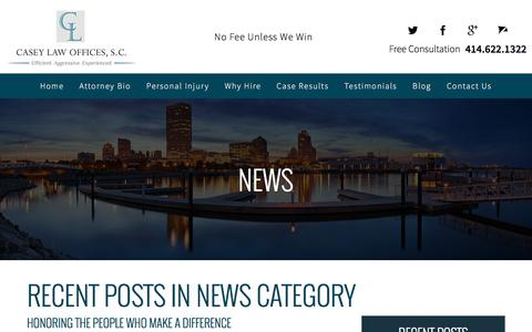 Screenshot of Press Page casey-injurylaw.com - News Blog - Casey Law Offices, S.C. - captured Oct. 26, 2016