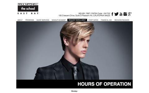 Screenshot of Hours Page pmtseastbay.com - Paul Mitchell The School East Bay | Hours of Operations - captured Oct. 2, 2014