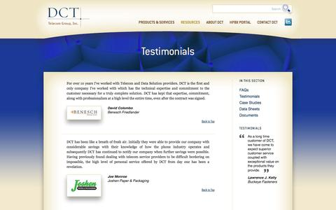 Screenshot of Testimonials Page 4dct.com - DCT Telecom - captured Oct. 5, 2014