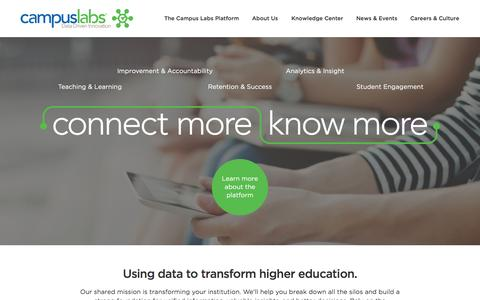 Screenshot of Home Page campuslabs.com - Home - Campus Labs - captured Nov. 10, 2015