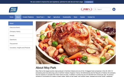 Screenshot of About Page moypark.com - About - Moy Park - captured Aug. 22, 2016