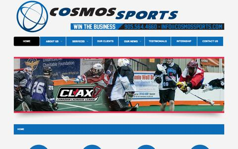 Screenshot of Home Page cosmossports.com - Sports Marketing Toronto - Canada, Branding, Ticket Sales, Consulting, Sponsorship | Cosmos Sports - captured Oct. 2, 2014