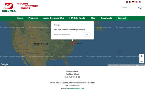 Screenshot of Contact Page dreumex.com - Contact - captured Nov. 6, 2018