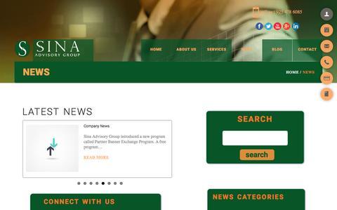 Screenshot of Press Page sinaadvisorygroup.com - News - Sina Advisory GroupSina Advisory Group - captured Jan. 29, 2016