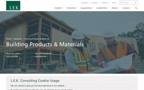 Building Products Consulting, Building Materials Consulting | L.E.K. Consulting