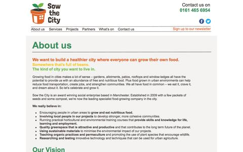 Screenshot of About Page sowthecity.org - Sow the City - captured Aug. 15, 2016
