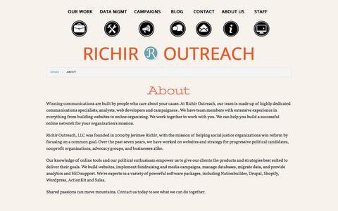 Screenshot of About Page richiroutreach.com - About | Richir Outreach - captured Sept. 21, 2018