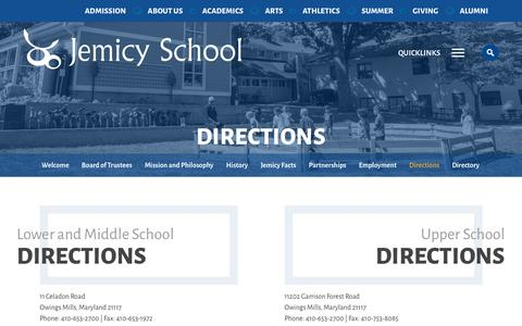 Screenshot of Contact Page Maps & Directions Page jemicyschool.org - Jemicy School |  Directions - captured Jan. 31, 2017