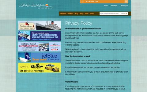 Screenshot of Privacy Page visitlongbeach.com - Privacy Policy - captured Feb. 1, 2016