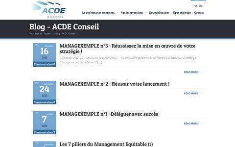Screenshot of Blog acde-conseil.com - Blog - ACDE Conseil - captured Dec. 22, 2015