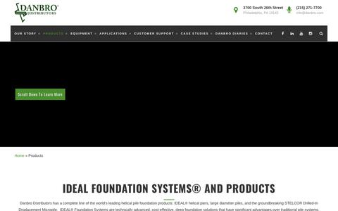 Screenshot of Products Page danbro.com - IDEAL Foundation Systems™ and Products | Danbro Distributors - captured Oct. 12, 2017