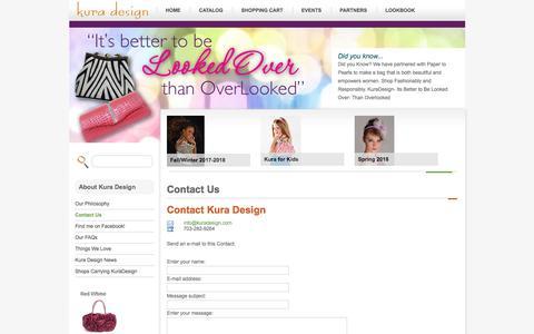 Screenshot of Contact Page kuradesign.com - Contact Us - Kura Design - captured Sept. 20, 2018