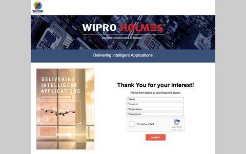 Screenshot of Landing Page wipro.com - Delivering Intelligent Applications - captured Aug. 15, 2016