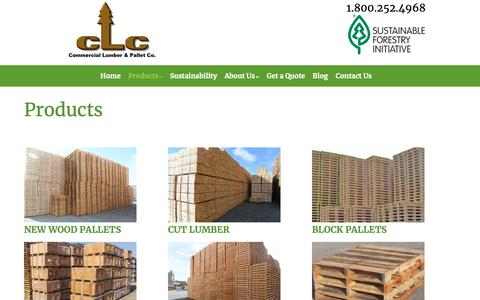 Screenshot of Products Page clcpallets.com - Products – Commercial Lumber & Pallet Company – Priority Pallet - captured Feb. 20, 2019