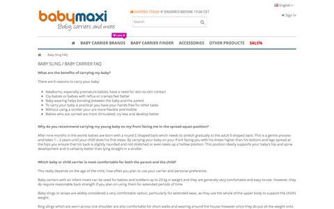 Screenshot of FAQ Page babymaxi.com - Baby Sling FAQ - captured July 31, 2016