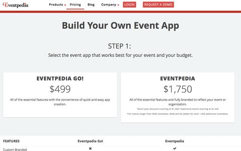 Screenshot of Pricing Page eventpedia.com - Event App Pricing - captured May 22, 2017