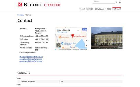 Screenshot of Contact Page klineoffshore.no - Contact - KLine - captured Oct. 20, 2018