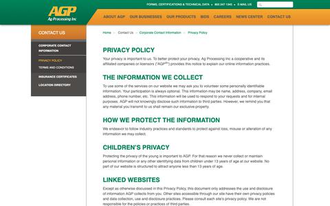 Screenshot of Privacy Page agp.com - AGP - Privacy Policy - captured Oct. 3, 2018