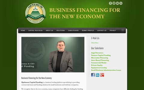 Screenshot of Home Page optimumcapitalfunding.com - Business Financing for the New Economy - captured Sept. 30, 2014