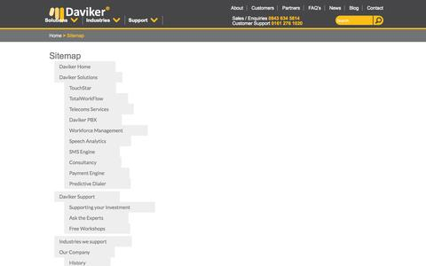 Screenshot of Site Map Page daviker.co.uk - Daviker | Contact Centre And Workflow Solutions | Sitemap - captured Sept. 30, 2014