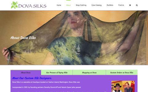 Screenshot of About Page dovasilks.com - Hand Painted Silk Fabric from Dress Designers near Seattle, WA | Dova Silks - captured Nov. 27, 2017