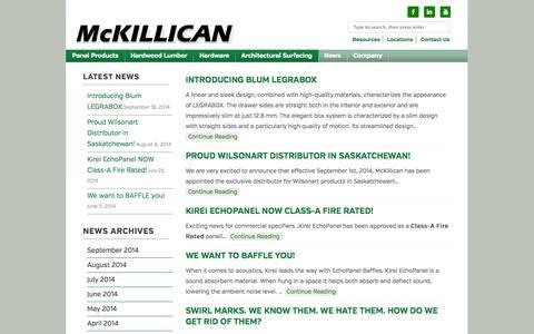 Screenshot of Press Page mckillican.com - News Page | McKillican - captured Oct. 4, 2014