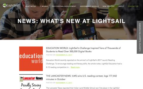 Screenshot of Press Page lightsailed.com - News Archives - LightSail - captured Sept. 28, 2018
