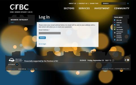 Screenshot of Login Page creativebc.com - Log In | Creative BC - captured Sept. 22, 2014