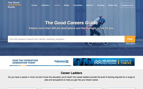 Screenshot of Jobs Page gooduniversitiesguide.com.au - The Good Careers Guide | Job Guide - captured Oct. 7, 2017