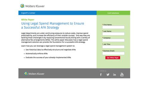Screenshot of Landing Page datacert.com - White Paper: Using Legal Spend Management to Ensure a Successful AFA Strategy - captured Aug. 17, 2016