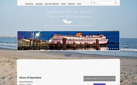 Screenshot of Hours Page srichamber.com - Hours of Operation - Southern Rhode Island Chamber of Commerce | Wakefield, RI - captured Feb. 24, 2016