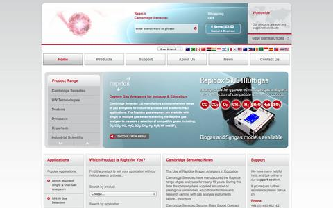 Screenshot of Home Page cambridge-sensotec.co.uk - Home | Cambridge Sensotec - advancing excellence in gas analysis - captured Oct. 1, 2014