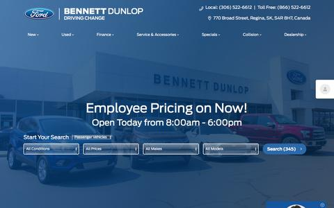 Screenshot of Home Page bennettdunlopford.com - New & Used Ford Regina Dealer | Bennett Dunlop Ford - captured Aug. 17, 2019