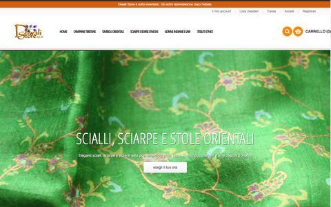 Screenshot of Home Page diwalistore.it - Negozio Etnico online dedicato allo stile etnico orientale  - Diwali Store - captured Jan. 7, 2016