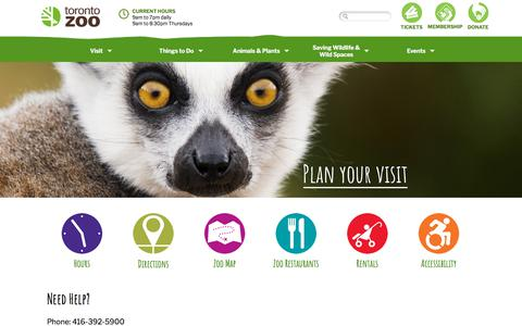Screenshot of Maps & Directions Page Hours Page torontozoo.com - Toronto Zoo | Plan Your Visit - captured Aug. 30, 2019