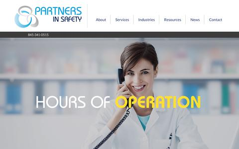 Screenshot of Hours Page partnersinsafety.com - Hours of Operation - Partners In Safety - captured July 16, 2018