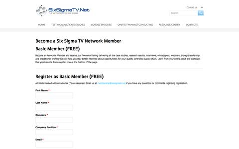 Screenshot of Signup Page sixsigmatv.net - Become a Six Sigma TV Network Member - Six Sigma TV - captured Oct. 9, 2014