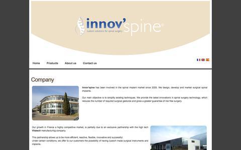Screenshot of About Page innovspine.com - innov'spine - Company - captured Jan. 9, 2016