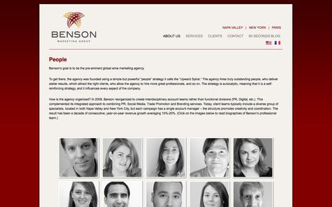 Screenshot of Team Page bensonmarketing.com - People - Benson Marketing Group - captured Oct. 5, 2014