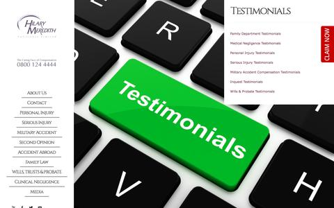 Screenshot of Testimonials Page hmsolicitors.co.uk - Personal Injury Specialists - Read our Testimonials - Hilary Meredith - captured Aug. 14, 2017
