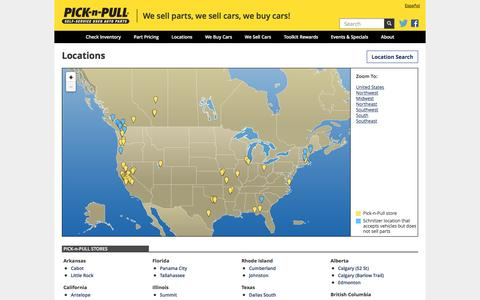 Screenshot of Locations Page picknpull.com - Pick-n-Pull » Locations - captured July 13, 2016