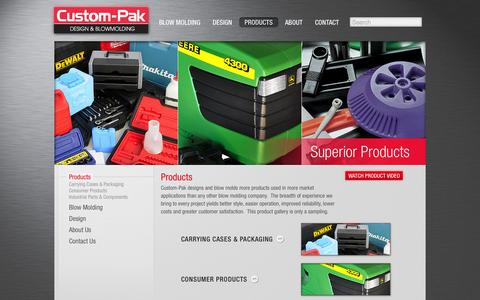 Screenshot of Products Page custom-pak.com - Blow Molded Products - captured Oct. 3, 2014