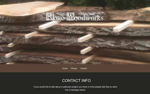 Screenshot of Contact Page rogowoodworks.com captured Jan. 11, 2016